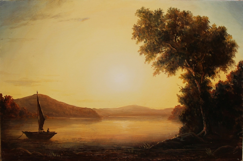 Early Morning on the Hudson River 12 x 18in. oil on panel