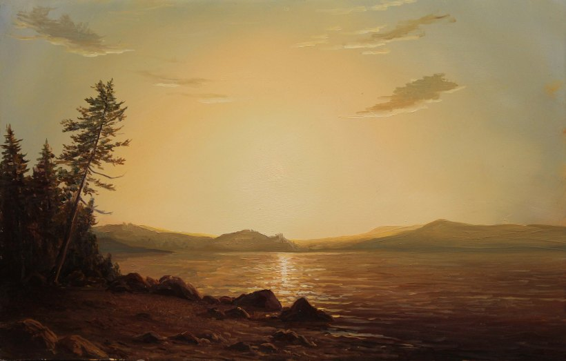 Lauren Sansaricq_Richardson Lake at Sunset_Web_9x14in. _oil on panel