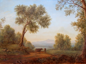 LaurenSansaricq_pastoral scene with mount choucorua in the distance_4website _16x20oil on panel