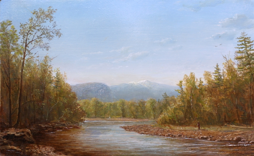 Veiw of Mt. Washington on the Saco River near North Conway_laurensansaricq_oil on panel