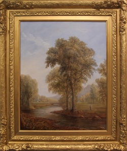 pastoral scene of the town of jackson(framed)