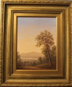Forest interior with Catskills and hudson river Framed