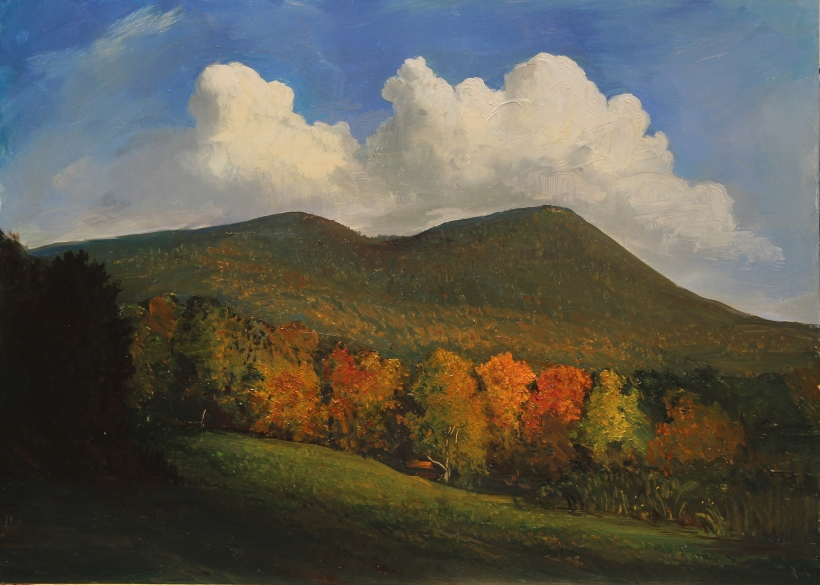 lauren Sansaricq _Autumn Color in New Hampshire Double head mountain_10x14in