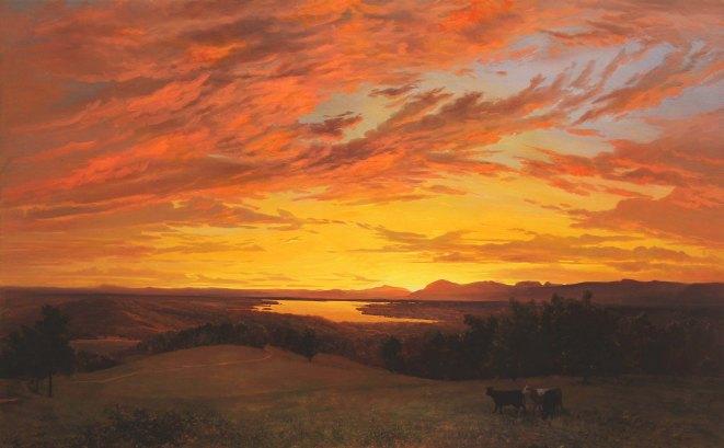 Erik Koeppel Sunset at Olana 30 x 48 in. Oil on canvas Hudson River School web