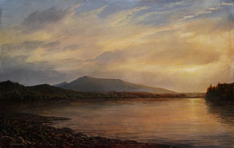 Lauren Sansaricq_ Scene in The Adirondacks, Saint Regis Lake, 9 x 14in. oil on panel_web