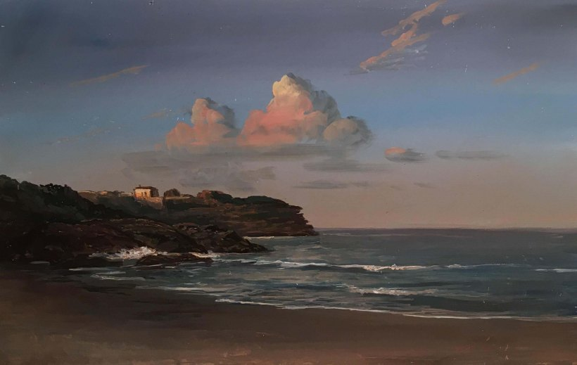 Sunset at Bronte Beach_ 9x14in.
